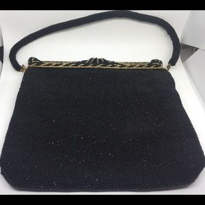 1940s Beaded Evening Purse Black w/Gold Accents